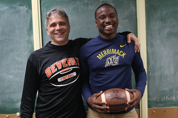 HADLEY GREEN/ Staff photo<br /> Hugh Calice and Beverly football coach. Calice will attend Merrimack College in North Andover next year to play football. 5/10/17