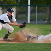 RYAN HUTTON/ Staff photo<br /> Swampscott's Louis Olivieri kicks up a cloud of dust sliding into second as Danvers' Anthony Olszak tries to make the out in the top of the fifth inning of Wednesday's game at Danvers.