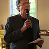 HADLEY GREEN/ Staff photo<br /> Reverend Michael Duda welcomes congregation members to an open house at the First Church in Wenham. 5/17/17