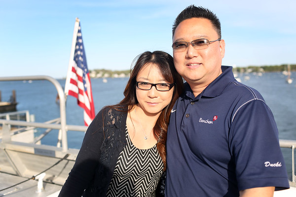 HADLEY GREEN/ Staff photo<br /> Sookhee Park and Peter Ahn of Andover attend the Salem Chamber of Commerce's annual After Hours Plus event on the Salem Ferry.  5/16/17