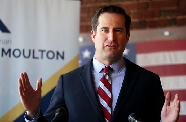 HADLEY GREEN/ Staff photo<br /> Congressman Seth Moulton held a press conference to speak about President Donald Trump's firing of FBI Director James Comey. 5/10/17