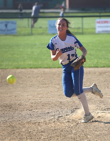 HADLEY GREEN/ Staff photo<br /> Daria Papamechail (13) pitches during the last inning of the Danvers v. Essex Tech girls softball game at the Great Oak School in Danvers. 5/18/17