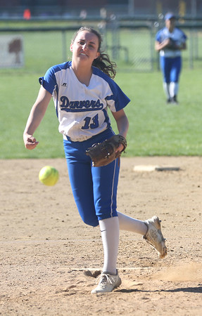 HADLEY GREEN/ Staff photo<br /> Daria Papamechail (13) pitches at the Danvers v. Lynn Classical High School girls softball game at the Great Oak School in Danvers. 5/10/17