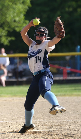HADLEY GREEN/ Staff photo<br /> Peabody pitcher Tianna Dawe(14) winds up at the Peabody v. Gloucester girls softball game at the Kiley School field in Peabody. 5/17/17