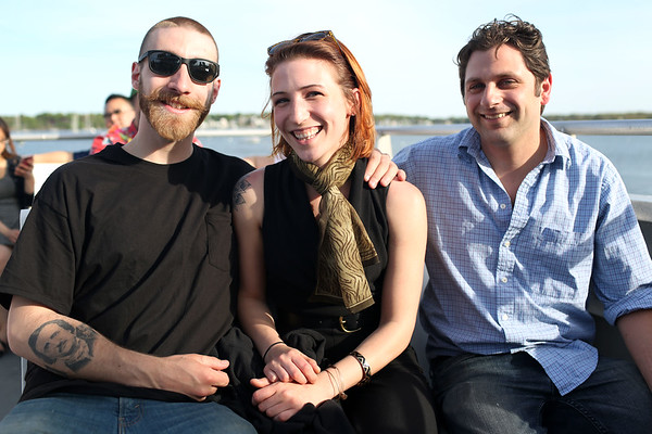 HADLEY GREEN/ Staff photo<br /> From left, Ray Mundell of Marblehead, Kati Nalbandian of Marblehead, and Matt Mattera of Danvers sit on the upper deck of the Salem Ferry. 5/16/17