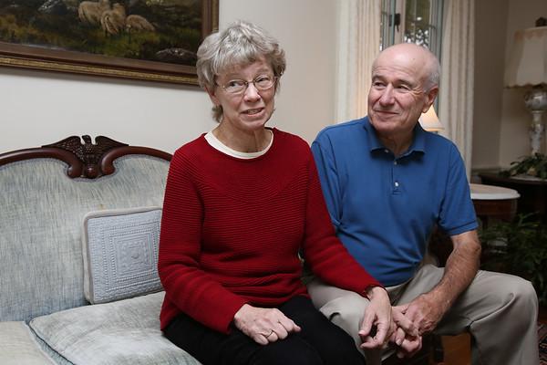 KEN YUSZKUS/Staff photo.  Seth Moulton's parents, Lynn and W. Thomas Moulton speak about their son Seth, the new congressman. 11/5/14
