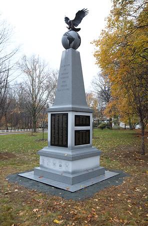 KEN YUSZKUS/Staff photo. Wenham has just completed a new war memorial on Main Street at the corner of Arbor Street. 11/6/14