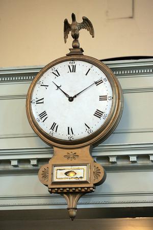 KEN YUSZKUS/Staff photo.  The Willard Clock in the old First Universalist Church building in Salem.   11/11/15.