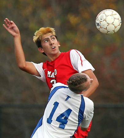 DAVID LE/Staff photo. Danvers vs Masconomet Boys Soccer D2 First Round game. 11/6/15.