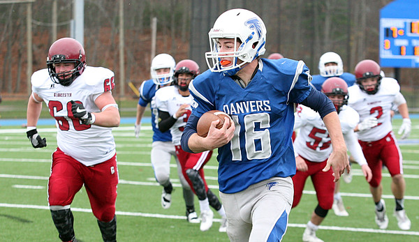 Dean Borders runs up the field during the second quarter.  Danvers beat Gloucester 41-26 in the annual Thanksgiving Day football game. Nov. 24, 2016