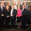 AMY SWEENEY/Staff photo. The 6th Annual North Shore Distinguished Leadership awards dinner was held last night at the Danversport Yacht Club. Russell Cole, left chairman of the North Shore Chamber of Commerce stands with the distinguished leaders: Karen Andreas, North of Boston Media Group regional publisher, from left, Richard Holbrook, chairman and CEO of Eastern Bank, Catherine and David Gravel, of GraVoc Associates, Pamela Scott, president and CEO of LVCC, Inc., <br /> Back: Thomas Alexander, Alexander & Femino law firm, Gwen Cochran Hadden, of Cochran Hadden Royston Associates, Martha Farmer, PhD CEO and Founder of North Shore Innoventures, David LaFlamme, CEO of North Shore Bank, and William Tinti ,senior partner of the law firm of Tinti, Quinn, Grover & Frey.