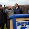 Dick, Jim and Phil Morse thank the crowd during the halftime after the dedication of the Morse Athletic Complex during the Gloucester vs Danvers annual Thanksgiving Day football game. Danvers won 41-26.<br /> Nov. 24, 2016