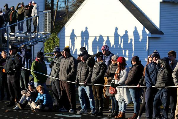 HADLEY GREEN/Staff photo<br /> Large crowds bundled up to watch the Hamilton-Wenham v. Stoneham Division 6 North football title game at Hamilton-Wenham High School.<br /> 11/11/17