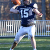 HADLEY GREEN/Staff photo<br /> Hamilton-Wenham's Hunter Wilichoski (15) throws the ball at the Hamilton-Wenham v. Stoneham Division 6 North football title game at Hamilton-Wenham High School.<br /> 11/11/17