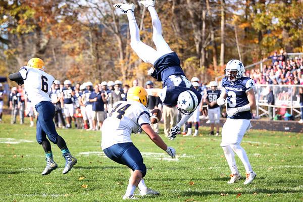 HADLEY GREEN/Staff photo<br /> Hamilton-Wenham's Cam Peach (44) flips into the end zone to score a touchdown at the Hamilton-Wenham v. Arlington Catholic Division 6 North playoff semifinals football game at Hamilton-Wenham High School.<br /> <br /> 11/04/17