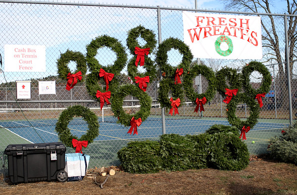 HADLEY GREEN/Staff photo<br /> Wreaths and Christmas trees are for sale at Patton Park in Hamilton. <br /> <br /> 11/25/17