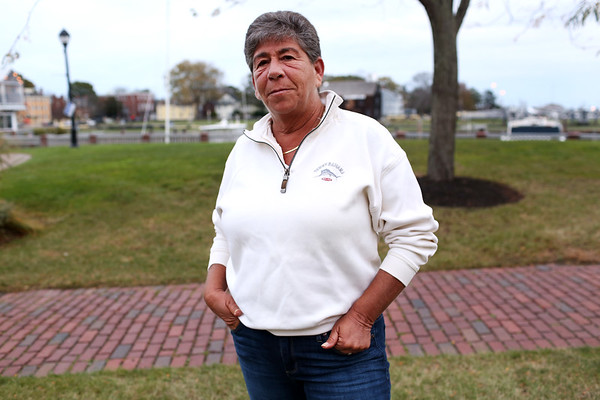 """HADLEY GREEN/Staff photo<br /> Toby Channon, a Swampscott native and longtime Salem resident, has been an vocal opponent of the Sanctuary for Peace ordinance. Channon says she's """"dead set against it for a multitude of reasons,"""" and has been making online videos expressing her views. <br /> <br /> 11/03/17"""