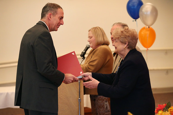 """HADLEY GREEN/Staff photo<br /> Rep. Jerry Perisella was honored at the Beverly Senior Center's 25th anniversary """"Wall of Fame"""" celebration. <br /> 11/14/17"""