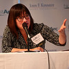 HADLEY GREEN/Staff photo<br /> Panel member Shirley Leung poses a question to Meegan O'Neil at the Northeast Arc Tank competition at the JFK Library & Museum in Boston. <br /> <br /> 11/15/17