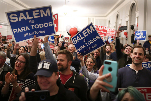 HADLEY GREEN/Staff photo<br /> A large crowd of supporters cheered on Salem Mayor Kim Driscoll after her re-election victory over Paul Prevey at the Hawthorne Hotel. 11/07/17