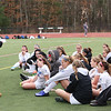 HADLEY GREEN/Staff photo<br /> Danvers' coach Jim Hinchion speaks to Danvers players at halftime at the Medway v. Danvers Division 2 girls soccer state championship game at Fitchburg State University.<br /> <br /> 11/18/17