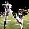 HADLEY GREEN/Staff photo<br /> Swampscott's Isaiah Bascon (7) and Jake McIntire (14) celebrate Bascon's touchdown at the Gloucester v. Swampscott football game at Gloucester High School.<br /> 11/10/17