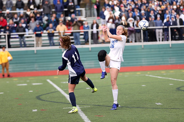 HADLEY GREEN/Staff photo<br /> Danvers' Sarah Unczur (16) blocks the ball at the Medway v. Danvers Division 2 girls soccer state championship game at Fitchburg State University.<br /> <br /> 11/18/17