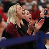 HADLEY GREEN/Staff photo<br /> Gloucester coach Erica Mitchell cheers during Gloucester's routine at the Massachusetts State Cheerleading Tournament at Worcester State University.<br /> <br /> 11/19/17