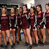 HADLEY GREEN/Staff photo<br /> The Gloucester cheerleading team watches their competitors before going onstage at the Massachusetts State Cheerleading Tournament at Worcester State University.<br /> <br /> 11/19/17