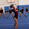 HADLEY GREEN/Staff photo<br /> The Gloucester cheerleading team warms up before competing onstage at the Massachusetts State Cheerleading Tournament at Worcester State University.<br /> <br /> 11/19/17