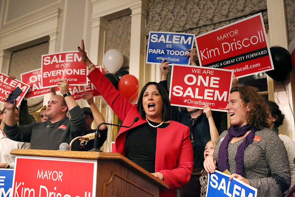 HADLEY GREEN/Staff photo<br /> Salem Mayor Kim Driscoll celebrates her re-election victory over Paul Prevey at the Hawthorne Hotel. 11/07/17