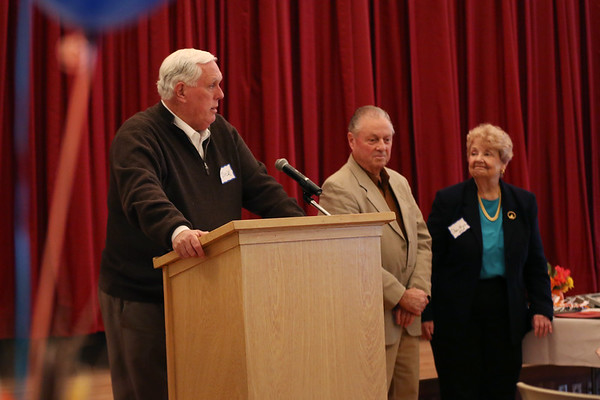HADLEY GREEN/Staff photo<br /> Endicott College president Dick Wiley speaks at Beverly Senior Center's 25th anniversary celebration after the college was recognized for its volunteer efforts at the center.<br /> 11/14/17