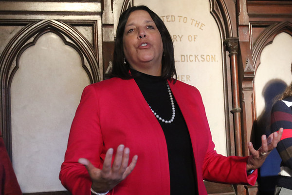 HADLEY GREEN/Staff photo<br /> Salem Mayor Kim Driscoll speaks at the ribbon cutting ceremony for the restored rose window and first phase of the Dickson Memorial Chapel restoration at Greenlawn Cemetery in Salem.<br /> <br /> 11/25/17