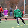HADLEY GREEN/Staff photo<br /> Danvers goalie Mackenzie Gilmore cheers after making a save during penalty kicks after two overtimes at the Medway v. Danvers Division 2 girls soccer state championship game at Fitchburg State University.<br /> <br /> 11/18/17
