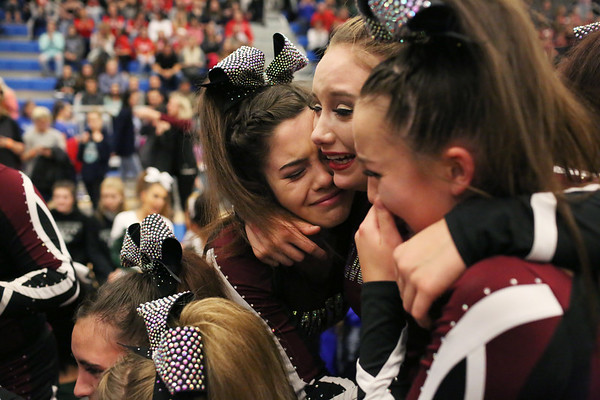HADLEY GREEN/Staff photo<br /> Gloucester cheerleaders celebrate after coming in first in the small school co-ed division at the Massachusetts State Cheerleading Tournament at Worcester State University.<br /> <br /> 11/19/17