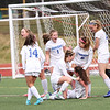 HADLEY GREEN/Staff photo<br /> Danvers players celebrate after Riley Baker (19) scores their second goal at the Medway v. Danvers Division 2 girls soccer state championship game at Fitchburg State University.<br /> <br /> 11/18/17