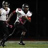 DAVID LE/Staff photo. Marblehead junior running back Jaason Lopez (23) breaks into the open field against Peabody. 10/2/15.