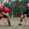DAVID LE/Staff photo. Salem football has been guided by strong blocking play from center Jackson Hanford left, and tight end Jorge Lopez, right. 9/28/16.