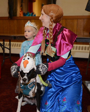 """RYAN HUTTON/ Staff photo<br /> Dressed as the character Anna from the Disney film """"Frozen"""", Jenny Plassmeier tries to get her dog Marry Poppins to wear an Olaf the Snowman costume properly while her daughter Lexi, 2, is dressed at Elisa at the Peabody Halloween celebration at the Knights of Columbus hall on Thursday."""