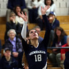 DAVID LE/Staff photo. Hamilton-Wenham setter Tori Vivenzio sets the ball behind her for an assist. 10/12/16.