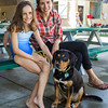 PARKER FISH/ Photo. Audrey Young (Right) and her daughter Eliana sit with their dog Hazel during the Doggie Dip at the Jewish Community Center of the North Shore in Marblehead. 9/17/16