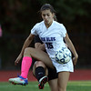 DAVID LE/Staff photo. Swampscott striker Samantha Agresti (15) tries to corral the ball while being challenged by a Beverly defender. 10/6/16.