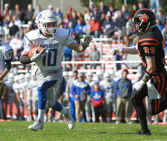 Danvers' Matt Andreas carries the ball in a game against Beverly Saturday, October 15, at Hurd Stadium. Photo by Nicole Goodhue Boyd