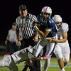 Jared Charney / Photo Peabody's Moise Irrizary returns an interception against Lynn in Peabody, Friday, October 14, 2016.