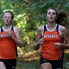 DAVID LE/Staff photo. Beverly senior Abby Walsh, right, and sophomore Ashley Foley run together out front of all other racers as they finished 1-2 respectively in a meet against Salem on Tuesday afternoon. 10/11/16.