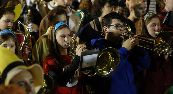 DAVID LE/Staff photo. The Beverly High School marching band dressed up in costume while playing tunes near the Salem Common at the end of the Haunted Happenings Parade. 10/6/16.