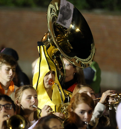 DAVID LE/Staff photo. A Beverly High School tuba player was dressed as a banana while playing tunes near the Salem Common at the end of the Haunted Happenings Parade. 10/6/16.