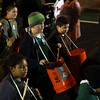 DAVID LE/Staff photo. Students from Salem Academy Charter School marched and played cement bucket drums in the annual Haunted Happenings Parade on Thursday. 10/6/16.