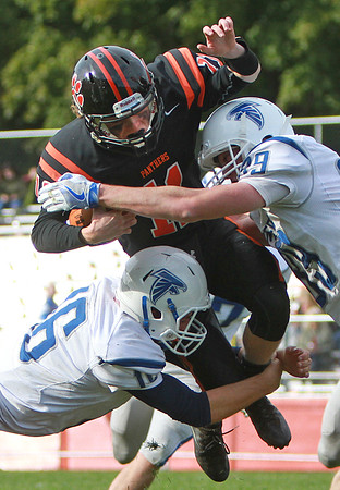 Beverly's Kevin Moreency gets some air in a game against Danvers Saturday, October 15, at Hurd Stadium. Photo by Nicole Goodhue Boyd