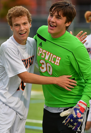 Ipswich players Max Benford (l) and goalie Nick Roesler celebrate the win.<br /> <br /> Photo by JoeBrownPhotos.com